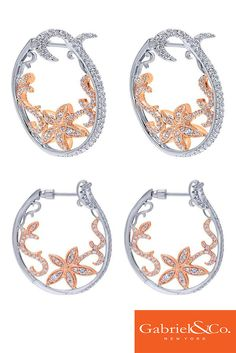 18k White and Pink Gold Diamond Intricate Hoop Earring by Gabriel & Co.