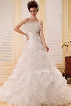 Ivory Organza Strapless Bridal Gown - Order Link: http://www.theweddingdresses.com/ivory-organza-strapless-bridal-gown-twdn0451.html - Embellishments: Beading , Ruched; Length: Chapel Train; Fabric: Organza; Waist: Natural - Price: 162.93USD