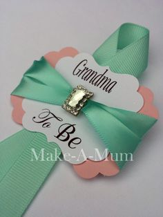Mint and Pink Grandma To Be Baby Shower corsageMommy by MakeAMum
