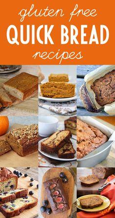 9 Gluten Free Quick Bread Recipes - banana bread, zucchini bread, chocolate bread, pumpkin bread, and more!