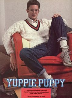 "Yuppie: ""young urban professional"" dressed to impress and stayed in the media for making money so young 80s Fashion Men, Retro Fashion, Vintage Fashion, Retro Outfits, Vintage Outfits, Gq, Preppy Style, My Style, Ivy League Style"