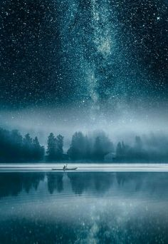 Milky Way over Vavajeveski lake in Finland