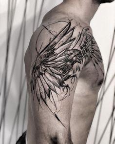 Freehand🔥 🖤check out my studio … Freehand🔥 🖤compruebe mi estudio @ inne_tattoo🖤 # wowtattoo Hawk Tattoo, Forarm Tattoos, Raven Tattoo, Sleeve Tattoos, Sketch Style Tattoos, Sketch Tattoo Design, Tattoo Sketches, Black Tattoo Art, Black Tattoos