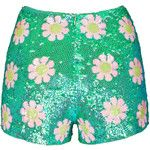 WILDFOX Psychedelic Daisy Glitter Green Sparkling sequin shorts