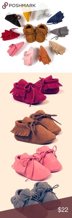 NWT Baby Moccasin ✨ Beautiful baby moccasin, Baby First Walkers soft bottom Non-slip fashion Tassels. Fits true size perfect for fall season! Only 4 colors available: true brown, Pink, Drak Gray, and Burgundy! All of them are size 6-12 months. Happy Poshing  Shoes Moccasins