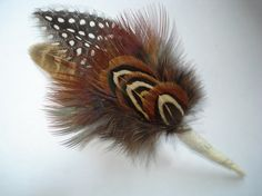 Pheasant And Guineea Feathers  Boutonniere by DBstore on Etsy, $7.00