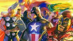 """""""Invincible"""" was created by Alex Ross as a companion piece to the DC Comics image 'In Light of Justice."""" Featuring everyone's favorite superhero team the Avengers. Alex Ross, Star Trek, Star Wars Art, Comic Books Art, Comic Art, Book Art, Superior Iron Man, Skylanders, San Diego Comic Con"""