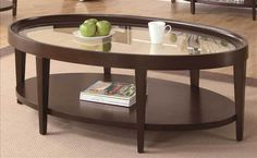 Oval Cocktail Table in Dark Cherry Finish