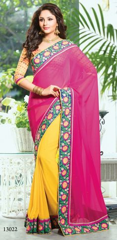 Pink & Yellow Georgette Casual Saree
