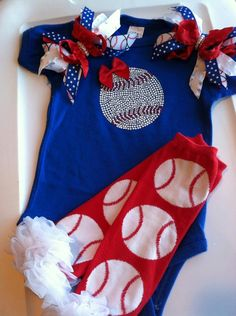Baseball Onesie & Pigtails by LylaBeanBoutique on Etsy. , via Etsy.