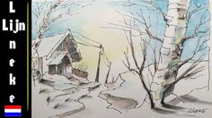 Hoe teken je een Sneeuwlandschap met Aquarel potloden Les 1