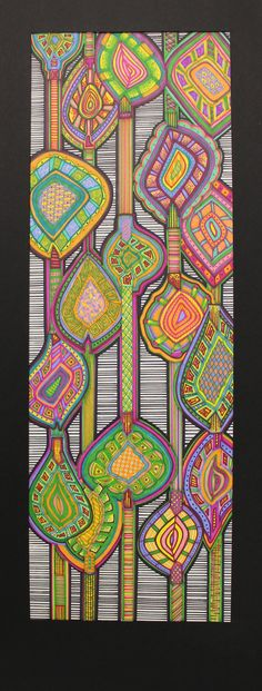 Zentangle Art inspired by vintage wallpaper patterns I think I'll do something like this for a door in my home.