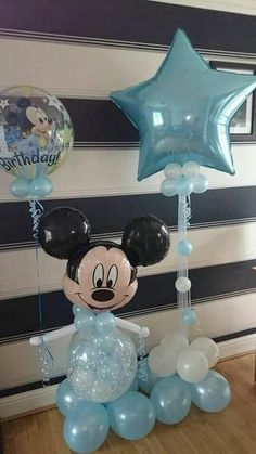 Mickey Mouse themed balloon decor for your kids birthday party.