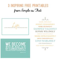 Free Inspiring Printable Trio from Simple As That