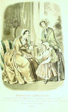 GRAVURE de MODE AUTHENTIQUE-P 34-MAGASIN DES DEMOISELLES-TOILETTES-1849
