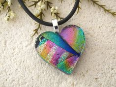 Heart Necklace Fused Glass Jewelry Dichroic Jewelry by ccvalenzo