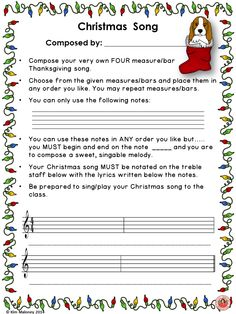 MUSIC COMPOSITION ! Have your students compose and perform their very own songs for CHRISTMAS!! ♦ This file contains SIX guided music compositions activities, including ONE sheet where the teacher is able to draw in the notes to be used in the song