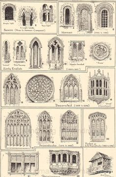 Types of medieval window design what if I can do the same for page with SF Victorians? No need o sketch all buildings, just interesting architectural parts!