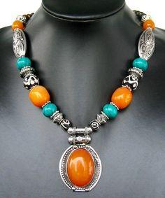 N3 Nepalese Handmade Tibetan silver Yellow Amber Resin Dzi Turquoise Necklace