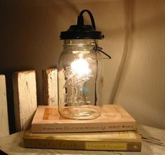 Canning Jar Lamp--Love this!  I wonder if there is a DYI out there for this cute lamp