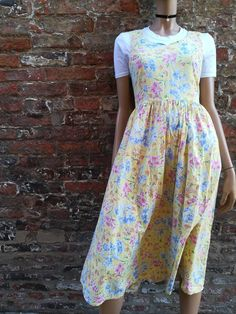 cfe5e628e8 Vintage Laura Ashley Floral Dress - 90s dress - midi dress - Yellow dress -  Indie Dress - UK 10