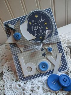 Baby boy card-Hush little BABY BOY handmade embellished card