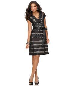 JS Collections Dress, Cap Sleeve V-Neck Ribbon Lace A-Line - Womens Dresses - Macy's