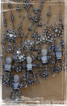My Dollies February 2010, original Frozen Charlotte art jewelry by Cheryl Simpson