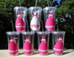 Set of 5 Bridal Party Wedding Tumblers by customvinylbydesign