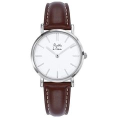 Women Designer Watches Brown Leather Bracelet Menthe A l'Eau ($125) ❤ liked on Polyvore featuring jewelry, watches, leather jewelry, leather watches, brown leather watches, leather wrist watch and brown jewelry