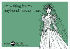 My bf is on tour...well he kinda is he's just on business in Pittsburgh but still! lol