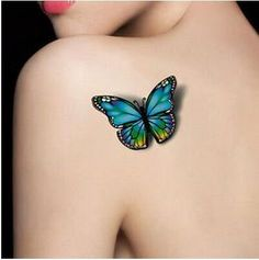 waterproof temporary tattoo tatoo henna fake flash tattoo stickers Taty tatto tatuagem tattoos tatuajes 2016 new style Realistic Butterfly Tattoo, Blue Butterfly Tattoo, Butterfly Tattoos For Women, Butterfly Tattoo Designs, Colour Tattoo For Women, Purple Butterfly, Bild Tattoos, Body Art Tattoos, New Tattoos