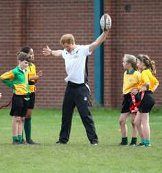 (Photo : Chris Jackson/Getty Images) Prince Harry, Patron of England Rugby's All Schools Programme, plays touch rugby against schoolchildren during a teacher training session at Eccles RFC on October 20, 2014 in Manchester, England