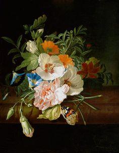 RUYSCH, Rachel Dutch Baroque Era (1664-1750)_Flowers on a stone slab around 1700
