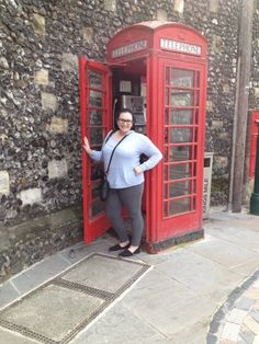 "Alli Buono explores Canterbury and takes the classic ""I'm in England"" telephone photo.  Learn more about the students' Canterbury study abroad experience by reading the blog: http://www.cazenovia.edu/blogs/academics/canterbury"