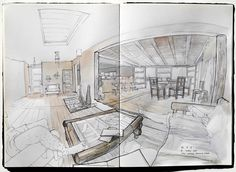 On the road sketchbook by Thomas Cian, via Behance