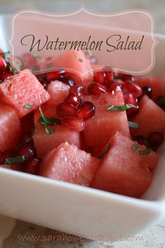 Watermelon, pomegranate, and mint salad. Great for hot summer nights.