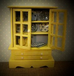 Dollhouse Filled Hutch / Cabinet / Cupboard / Sideboard - Miniature 1:12 Scale - Dollhouse Furniture - Yellow & Blue - Dollhouse Dishes
