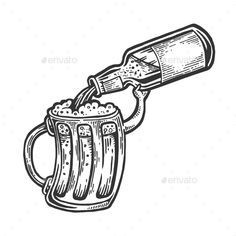Cup Pours Beer From Bottle Engraving Vector #Beer, #Pours, #Cup, #Vector