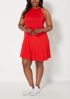 image of Plus Red High Neck Skater Dress