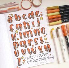 Bullet Journal Lettering Ideas, Lettering Guide, Bullet Journal Writing, Journal Fonts, Hand Lettering Alphabet, Bullet Journal School, Lettering Tutorial, Lettering Styles, Bullet Journal Ideas Pages