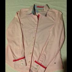 Pink Tommy Hilfiger Cotton Button Down Shirt Excellent pink Hilfiger cotton shirt.  Great condition. Tommy Hilfiger Tops Blouses