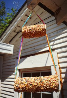 Kids Crafts Supplies: use dough made from flour and water, instead of peanut butter, to hold birdseed onto toilet paper/paper towel rolls for diy birdfeeder. Much cheaper. [5/3/13]