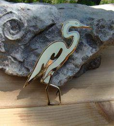 Fish & Crown Stork Brooch Soft Yellow Enamel by BellesBeehive