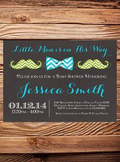 Little Man Baby shower Invitation boy, Linen, Gray, Neutral, Bow Tie, Mustache, Boy Shower, Little Man, Yellow, Aqua, Green,Chevron Stripes on Etsy, $21.00