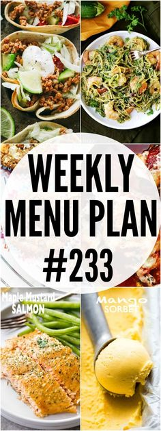 WEEKLY MENU PLAN ( - A delicious collection of dinner, side dish and dessert recipes to help you plan your weekly menu and make life easier for you! Argula Recipes, Kabasa Recipes, Coliflower Recipes, Kitchen Recipes, Healthy Recipes, Dessert Recipes, Healthy Food, Weekly Menu Planning, Meal Planning