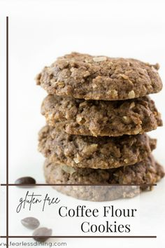 These homemade gluten free coffee flour cookies are full of delicious flavor. Coffee flour is naturally gluten free, and very low in caffeine. Easy directions to make and bake these crunchy cookies. fearlessdining No Flour Cookies, Coconut Cookies, Best Gluten Free Cookie Recipe, Coffee Flour, Kinds Of Cookies, Caffeine, Food To Make, Sweet Treats, Homemade