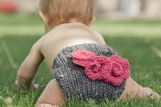 Knitted diaper cover. With knitted poop on the outside. So you know where to find it.
