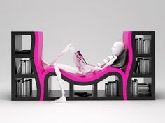 pink and black bookcase