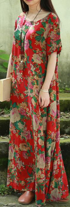 US$ 21.58 Vintage Women Floral Printed Short Sleeve Long Maxi Dresses